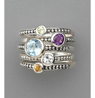 Sterling Silver Semi-Precious Ring Stack