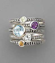 Sterling Silver Semi-Precious Ring Stack