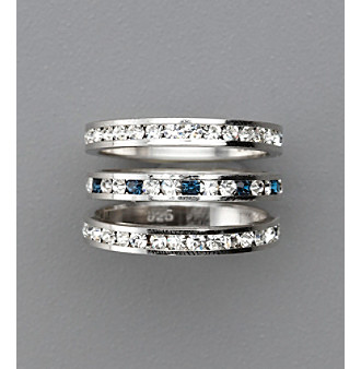 Sterling Silver Crystal Eternity Rings - Blue/Clear