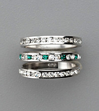Sterling Silver Crystal Eternity Rings - Green/Clear
