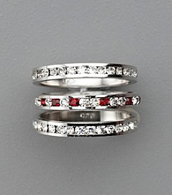 Sterling Silver Crystal Eternity Rings - Red/Clear