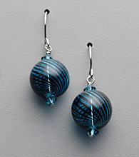 Sterling Silver, Crystal and Artisan Glass Earrings - Royal Blue