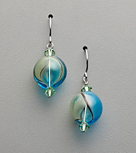 Sterling Silver, Artisan Glass and Crystal Earrings - Seafoam