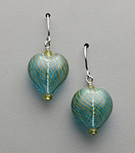 Sterling Silver, Artisan Glass Drop Heart Earrings - Teal