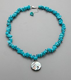 Semi Precious Howlite Turquoise Chip and Crystal Necklace