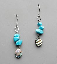 Semi Precious Howlite Turquoise Bead and Oval Abalone Drop Earrings