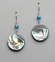 Sterling Silver, Crystal and Abaolone Drop Earrings
