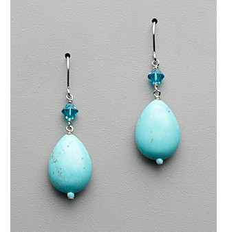 Sterling Silver, Crystal and Semi-Precious Howlite Turquoise Oval Drop Earrings
