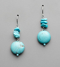 Semi-Precious Howlite Turquoise, Sterling Silver Drop Earrings
