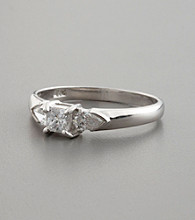 Sterling Silver and Princess Cut Cubic Zirconia Ring