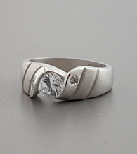 Matte Finish Sterling Silver & Cubic Zirconia Ring