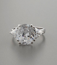Sterling Silver & Large Oval Cubic Zirconia Ring