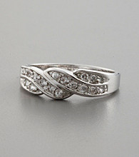 Braided Sterling Silver and Cubic Zirconia Ring
