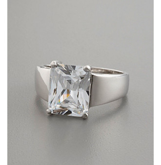 Sterling Silver and Princess-Cut Cubic Zirconia Ring