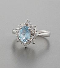 Sterling Silver, Blue Topaz & Cubic Zirconia Floral Ring
