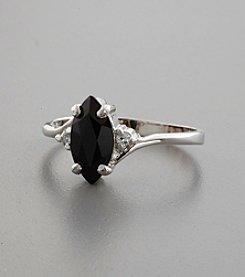 Sterling Silver, Onyx Stone & Cubic Zirconia Accents Ring