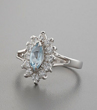 Sterling Silver, Blue Topaz Stone & Cubic Zirconia Accents Ring