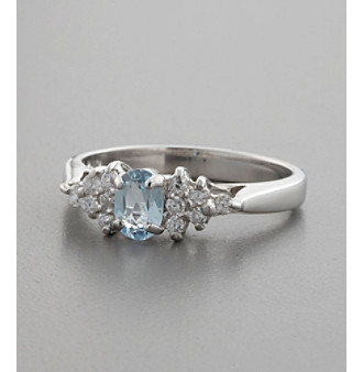 Blue Topaz, Sterling Silver & Cubic Zirconia Accent Ring