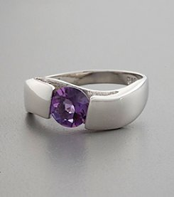 Sterling Silver and Genuine Amethyst Ring