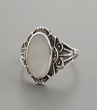 Genuine Mother-Of-Pearl and Antiqued Silver Band Ring