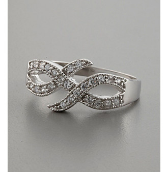 "Sterling Silver and Cubic Zirconia ""Double X"" Ring"