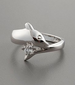 Sterling Silver Dolphin Ring with Cubic Zirconia Accent