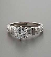 Sterling Silver & Cubic Zirconia Round- and Baguette-Cut Ring