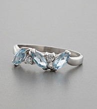 Marquis Cut Blue Topaz & Cubic Zirconia Accented Sterling Silver Ring