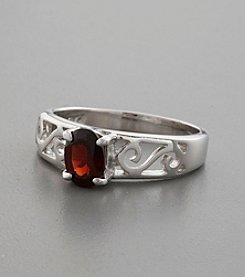 Garnet Solitaire and Sterling Silver Filigree Band Ring