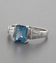 Blue Topaz & Cubic Zirconia Accented Sterling Silver Ring