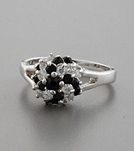 Sterling Silver, Jet and Clear Cubic Zirconia Snowball Ring
