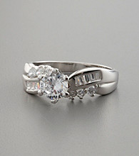 Sterling Silver and Cubic Zirconia Accented Sculpted Ring