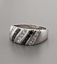 Channel Set Black/White Cubic Zirconia and Sterling Silver Ring