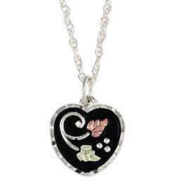 Black Hills Gold Heart Pendant In Sterling Silver, Gold