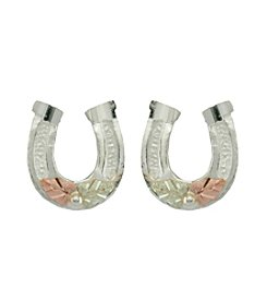 Black Hills Gold Sterling Silver & Gold Horseshoe Earrings
