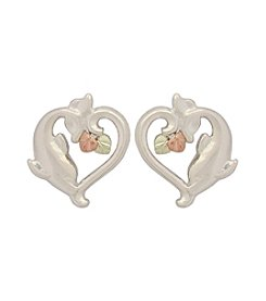 Black Hills Gold Sterling Silver and Gold Dolphin Heart Earrings