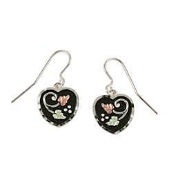 Black Hills Gold Sterling Silver & Gold Antiqued Heart Earrings