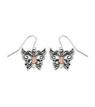 Black Hills Gold Oxidized Sterling Silver & Gold Butterfly Earrings