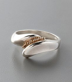 Contemporary Sterling Silver and 14K Gold Band