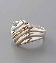 Sterling Silver and 14K Solid Gold Ridged Fan Ring