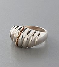 Sterling Silver and 14K Solid Gold Wide Rounded Band