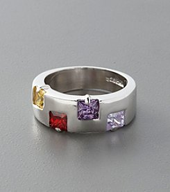 Sterling Silver and Cubic Zirconia Band - Multicolored
