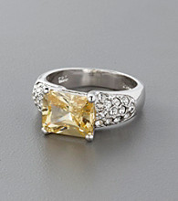 Sterling Silver, Crystal and Cubic Zirconia Ring