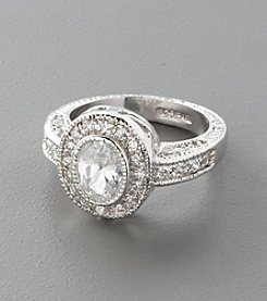 Sterling Silver and Oval-Cut Cubic Zirconia Ring