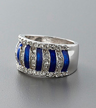 Sterling Silver and Crystal Band - Blue/Clear
