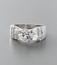Sterling Silver and Round Cubic Zirconia Ring