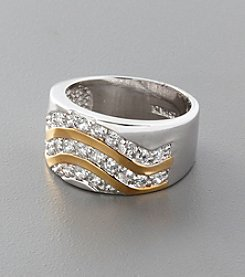 Sterling Silver and Cubic Zirconia Wide Wave Band Ring