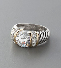 Sterling Silver & Large Clear Cubic Zirconia Ring