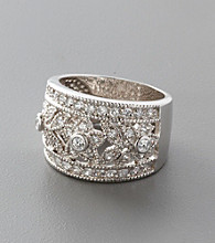 Sterling Silver Filigree and Cubic Zirconia Ring