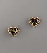 Betsey Johnson® Goldtone & Leopard Print Heart-Shaped Studs